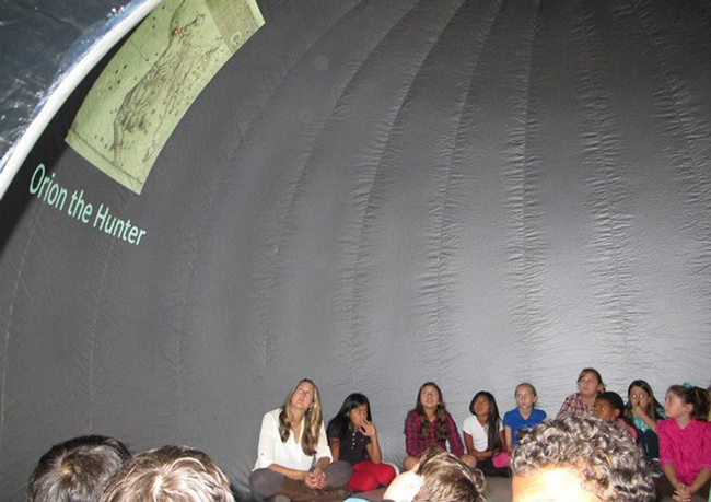 But will they know Orion's relationship to Osiris? Common Core, now renamed, might get them there: Students learned about constellations during a visit inside the Florida! portable planetarium. (Department of Education)