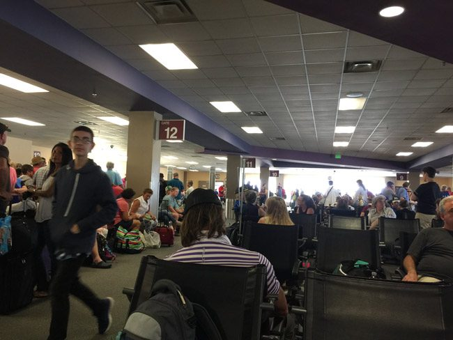 The scene in May at Orlando-Sanford International, an alternative to the massive Orlando International, where traffic went up 9.18 percent, to 1.3 million passengers last year. (© FlaglerLive)