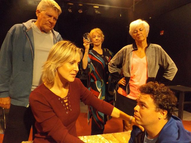 "Family tensions erupt in the City Repertory Theatre production of ""Other Desert Cities."" The dark comedy stars, from left: John Pope as Lyman, Sharon Resnikoff as Brooke, Anne Kraft as Silda, Sue Pope as Polly and Beau Wade as Trip. The play will be staged Nov. 10-19 at City Rep's venue in Palm Coast's City Market Place. (© FlaglerLive)"