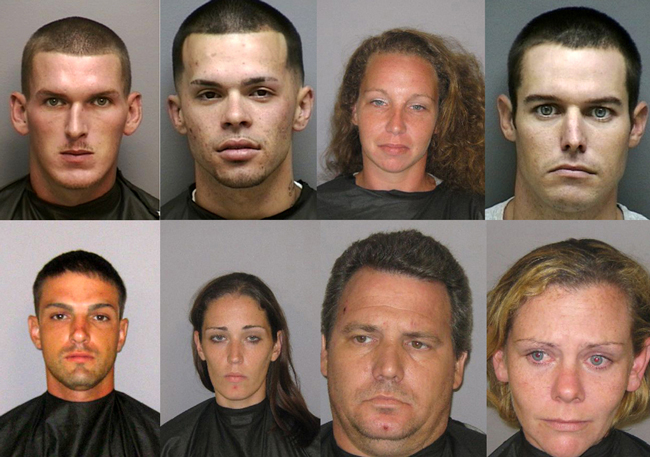 "Eight of the 15 local suspects arrested in ""Operation Script Club."" Top row, from left: Andrew Forkner, Joey Bourke Jr., Denise Rochbach, Michael Cundall; bottow row, from left: Justin McCalligan, Erin Bracken, Dennis Kraemer, and Theria Shenton. (FCSO)"