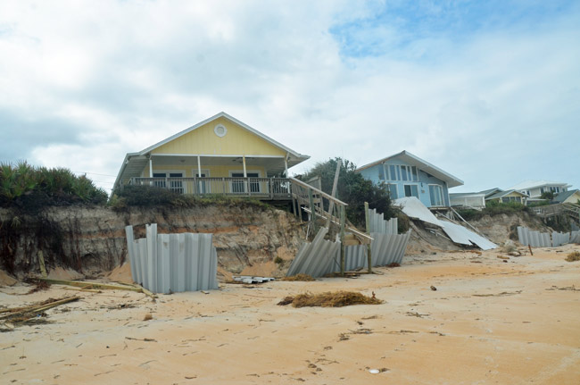 Two of the Painters Hill properties whose foundations were eroded by Hurricane Matthew. (© FlaglerLive)