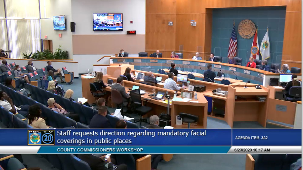 The Palm Beach County Commission at a June meeting when it approved a mandatory mask mandate. It did so during a workshop.