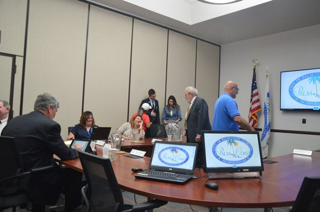 City Manager Jim Landon, left, has controlled the timetable and the process for the hiring of his replacement. (© FlaglerLive)