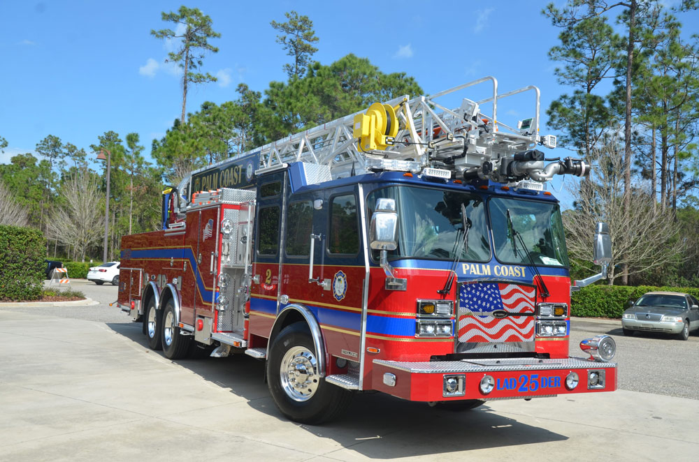 The ladder truck was manufactured in Ocala and delivered on arrived at Station 25  Wednesday evening. (© FlaglerLive)