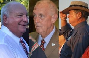 First up, the candidates for mayor: Incumbent Jon netts (left), Charlie Ericksen and Joe Cunnane. (© FlaglerLive)