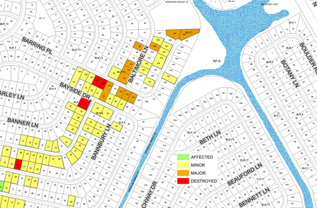 The Flagler County Property Appraiser's mapping of damage, by house, in Palm Coast's affected sections. Click on the map for a complete, large pdf rendition of the map.