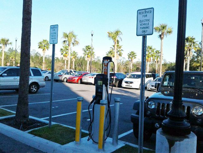 The electric-car charging station at Palm Coast City Hall has become a little more visible. (Palm Coast)