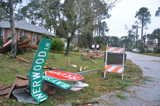 Ground zero of the Palm Coast tornado of Dec. 14. (© FlaglerLive)