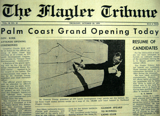 Even then, Flagler County was little more than a footnote to Palm Coast. (© FlaglerLive) 1970 grand opening ITT