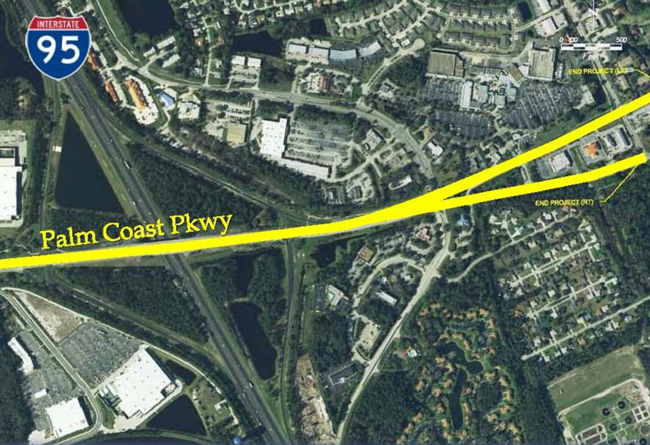 The widening of Palm Coast Parkway to six lanes will stretch over almost 1.3 miles. (Palm Coast)