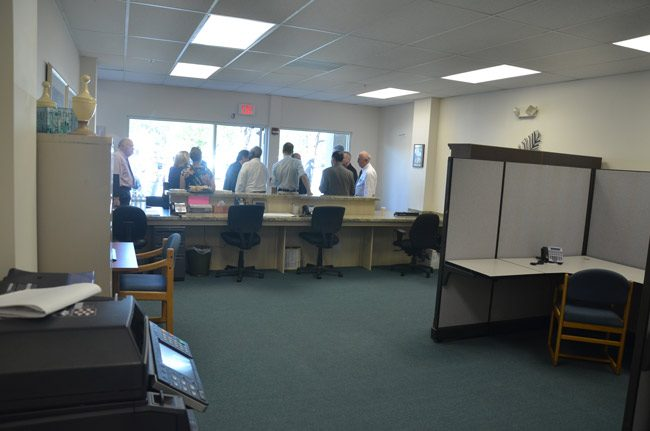 The Flagler County Sheriff's Palm Coast Precinct office at City Market Place, seen here when it first opened in 2013, where a resident today brought in a grenade found in the resident's backyard. (© FlaglerLive)
