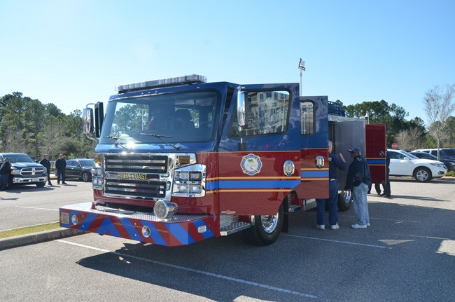 Two months after taking delivery of a $360,000 fire engine, the Palm Coast administration told the city council this week that it needs to replace three aging trucks relatively simultaneously, or reduce its level of service somewhat. (© FlaglerLive)