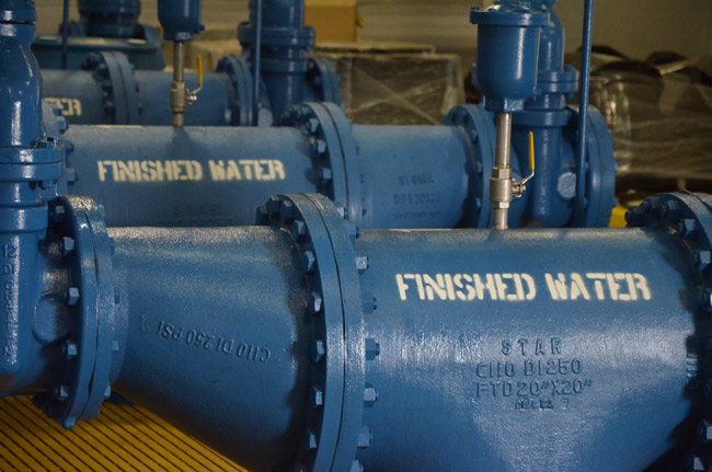 Pumps at Palm Coast's newest water plant, chugging for more. (© FlaglerLive)