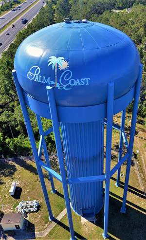 Palm Coast's water tower off I-95. (Palm Coast)