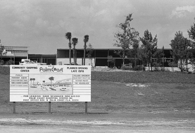 The way we were: the Palm Harbor shopping center in its gestation days. Click on the image for larger view. (Flagler County Historical Society)