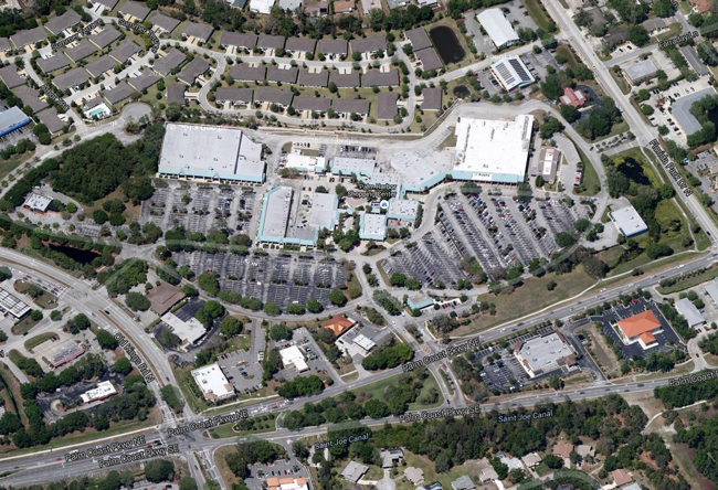 Whose canopy? The properties at and around the Palm Harbor Shopping Center are at the center of a legal dispute between Dennis McDonald, a resident, and Palm Coast government.