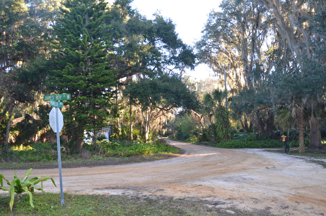 Where Pamela Parkway veers into James Roy Avenue West. (© FlaglerLive)
