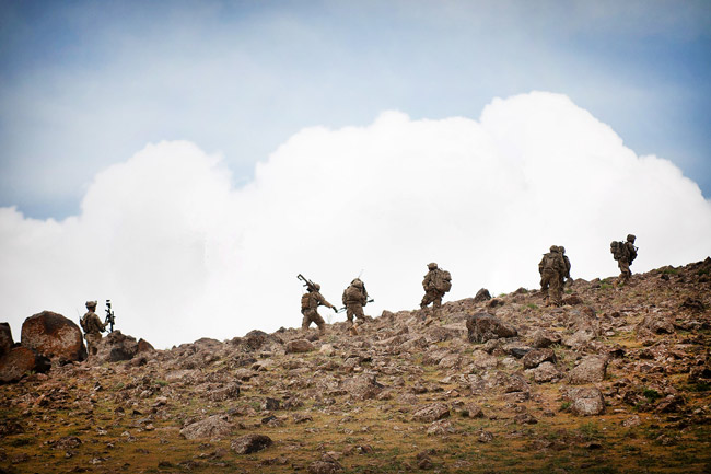 U.S. Army paratroopers move their observation post higher on a hill during combat operations in Afghanistan's Ghazni province, May 19, 2012. (U.S. Army / Sgt. Michael J. MacLeod)