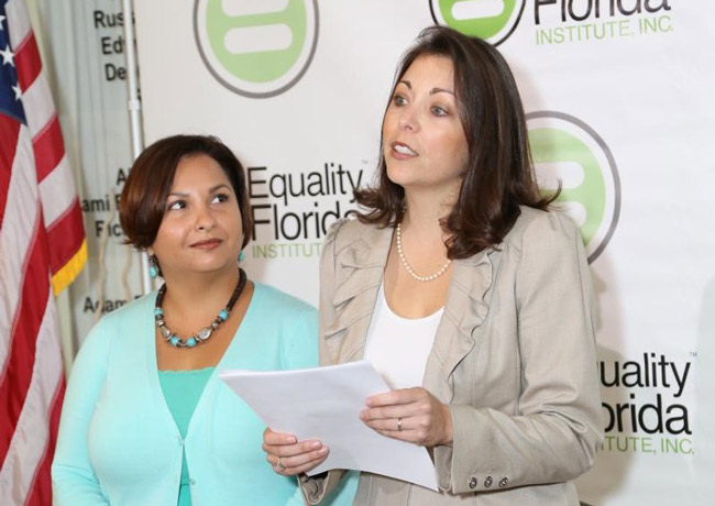 Catherina Pareto and Karla Arguello in January, when they and five other couples filed the suit they won today at the trial court level. (Equality Florida)