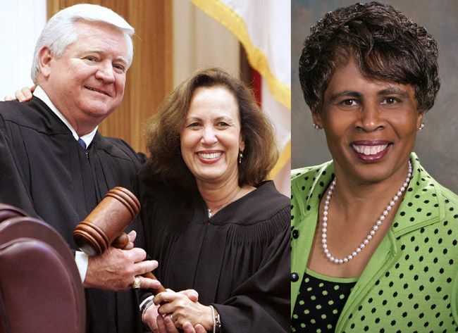 Florida Supreme Court Justices Fred Lewis, Barbara Pariente (center) and Peggy Quince, the more liberal justices on the court, are the target of a conservative campaign to unseat them.