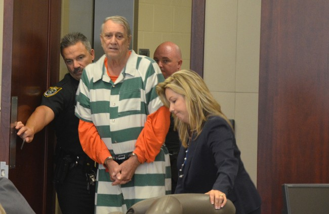 Paul Miller arriving in court for his sentencing this afternoon. Click on the image for larger view. (c FlaglerLive)