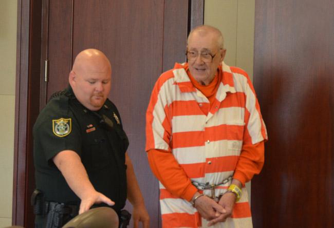 Paul Miller, arriving in court this morning. (© FlaglerLive)
