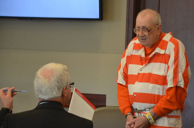 Paul Miller at his hearing in March at the Flagler Coun ty courthouse, with his attorney, Assistant Public Defender Ray Warren. (© FlaglerLive)