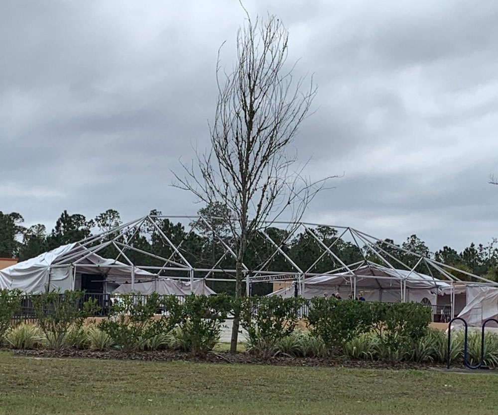 The Palm Coast Arts Foundation's Big Tent is not as much of a big tent after last week's wind-storm. It would not have been much of an issue--it's repairable--but the Foundation was preparing for its annual co-production of Shakespeare in the Park, with City Repertory Theatre. So: the planned performances from Thursday through Sunday have been moved to CRT's venue at City Marketplace--and all shows are sold out. See details here. (PCAF)