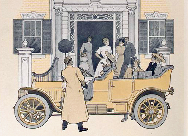The romance is over. (The Peerless motor car, 1909. New York Public Library collection)