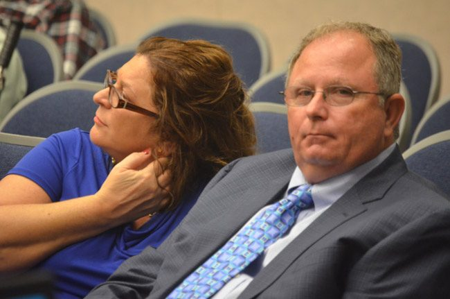 Perry Mitrano, the long-time solid waste director at the city of Bunnell, retires. He is being recognized tonight by the Bunnell City Commission. He is seen here with his wife, Diana. (© FlaglerLive)
