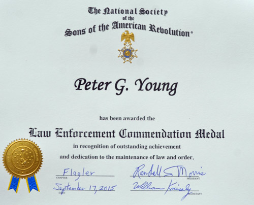 cpl. pete young citation sons of the american revolution fhp