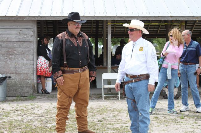 Before Sundsay's fast-draw shootout, Pete Young, left, the Florida Highway Patrol corporal and long-time traffic homicide investigator, talked quite a bit of smack about beating defending champion Rick Staly, the sheriff. But Young did just that. See a video below.