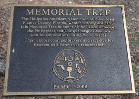 A plaque commemorating Philippinos and Americans wo fought as allies in World War II, at Heroes Park. Click on the image for larger view. (© FlaglerLive)