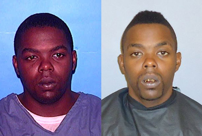 Phillip Neal, left, when he was in state prison until 2008, and in his more recent booking photo at the Flagler County jail, where he's been booked 18 times since 2008.