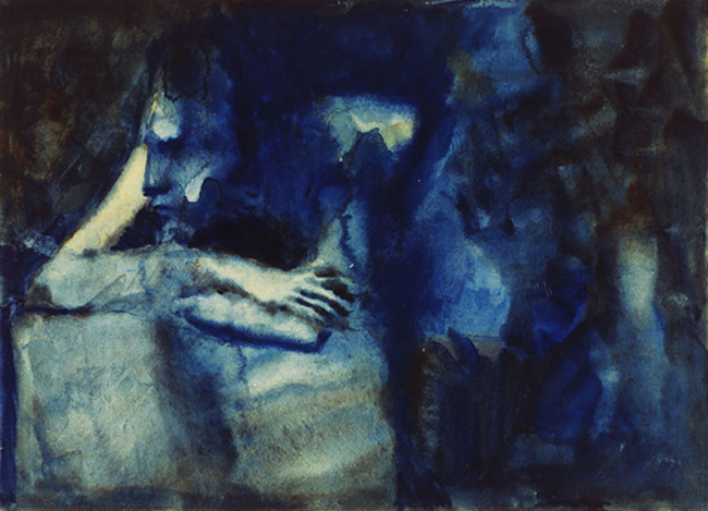 Picasso's 'Brooding Woman' (watercolor on paper, 1904).