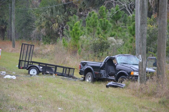 The pick-up truck appeared to have rolled over as it over-corrected, driving north on U.S. 1. (© FlaglerLive)