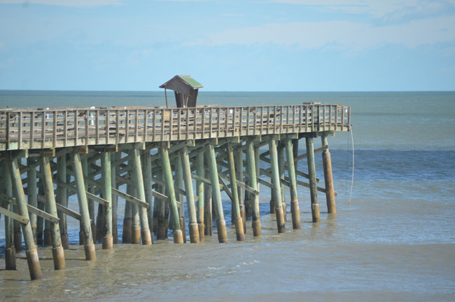 The Flagler Beach Pier lost 160 feet of its eastern end during Hurricane Matthew. It is scheduled to be repaired, but not restored to its original size, by May 1. (© FlaglerLive)