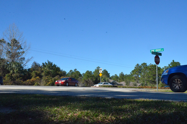 The intersection of Belle Terre Parkway and Pine Grove Drive has had its share of wrecks. (c FlaglerLive)