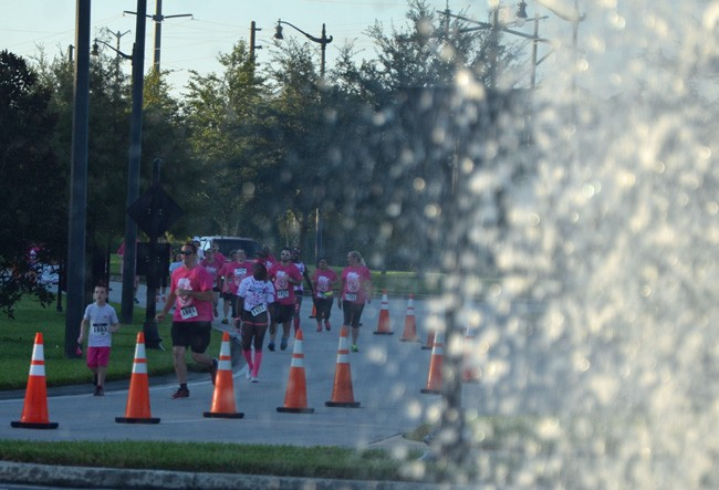 Some 1,000 runners took part in last October's Pink Army Run, with some participants seen above approaching the fountain in Town Center. (© FlaglerLive)