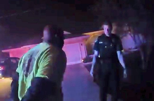Even after he was tased and handcuffed, Leslie Pitter repeatedly motioned toward deputy Conway with threatening body language as if to intimidate the deputy, whose shoulder at that point Pitter had dislocated. The image is from a video still captured on a deputy's body camera.