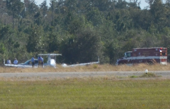 The plane sat on Runway 24, which was shut down, soon after the landing. Click on the image for larger view. (© FlaglerLive)