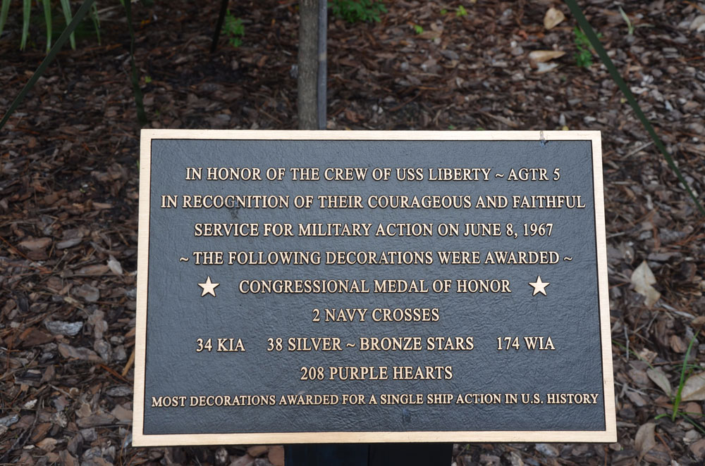 The USS Liberty memorial plaque at Heroes Park. (© FlaglerLive)