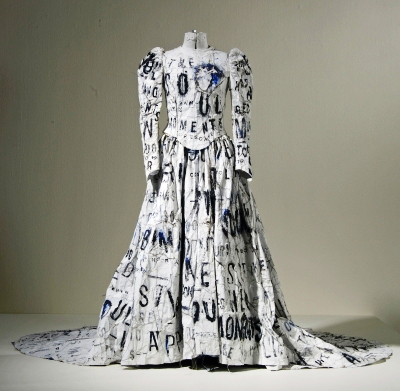 Lesley Dill, 'Dada Poem Wedding Dress' (1994), acrylic and thread on paper on mannequin, 64 x 60 x 70 in., Orlando Museum of Art Acquisition Trust Purchase, 1996.