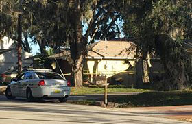 Deputies and other police were at the Fort Caroline home through this morning. (© FlaglerLive)