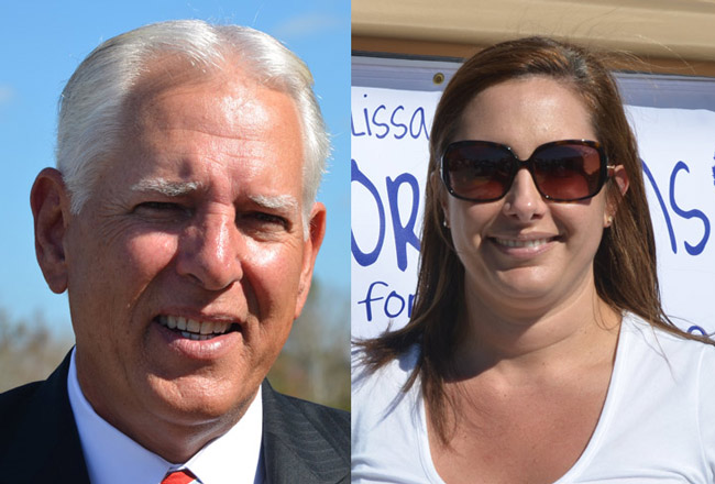 John Pollinger is running for Flagler County Sheriff, Melissa Moore Stens is running for county judge, and both are leading their respective races in money raised so far, but largely on the strength of their own contributions. (© FlaglerLive)