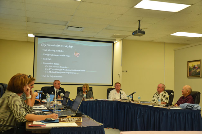 The Bunnell City Commission as it discussed a ban on medical pot dispensaries Monday. (© FlaglerLive)