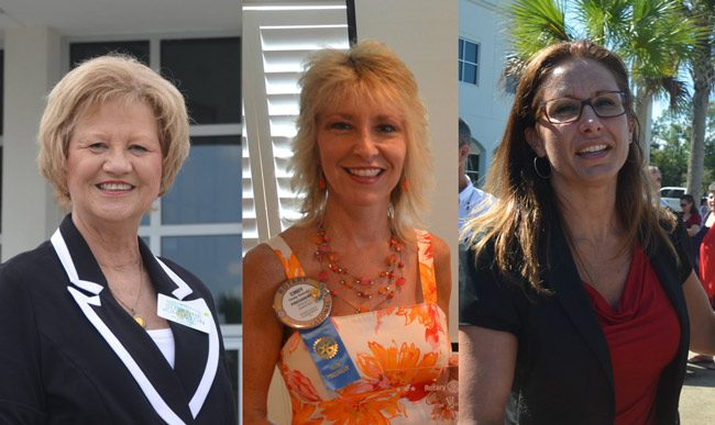 Powerful women: Tax Collector Suzanne Johnston, Marketing 2 Go Owner Cindy Dalecki and County Judge Melissa Moore-Stens are among the featured speakers at a Fearless and Focused Women in Business Luncheon Friday. See below. (© FlaglerLive)