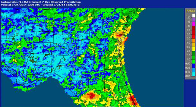 The map shows precipitations over the past seven days, with less than an inch reported in Flagler.