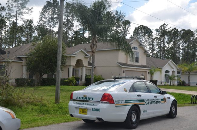 Sheriff's investigators began their death investigation at 37 Robinson Drive around 9:30 this morning. (© FlaglerLive)