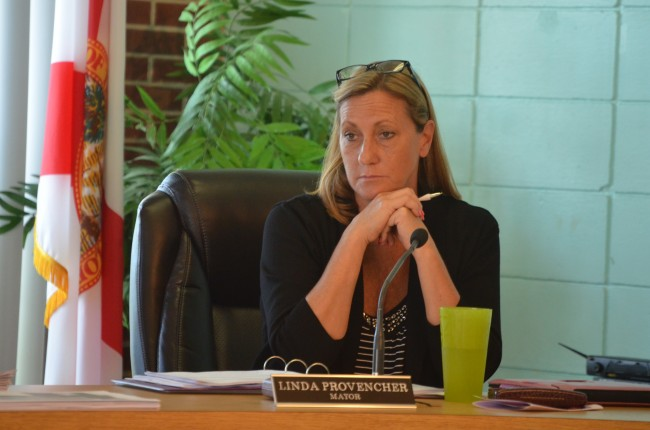 Flagler Beach Mayor Linda Provencher wanted a meeting to further investigate a dubious fire truck buy. Instead, she got a meeting where the commission may finally vote to go ahead with the $600,000 purchase this evening. (© FlaglerLive)